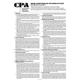 CPA Model Conditions for the hiring of Plant 2011