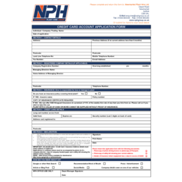 Credit Card Account Application Form
